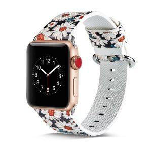 Apple Watch virágos műbőróraszíj 42/44 mm