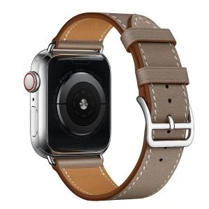 Apple Watch elegáns bőróraszíj – szürkésbarna – ezüst csattal 42/44 mm