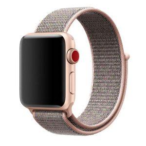 Apple Watch rugalmas szövet óraszíj /halvány rózsaszín – homok/ 42/44 mm