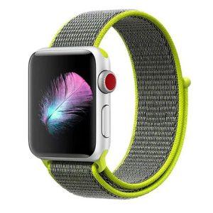 MYBANDZ Apple Watch rugalmas szövet óraszíj /szürke-neonzöld/ 42/44 mm