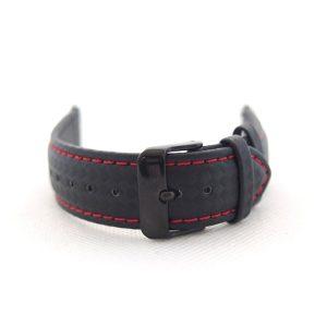 MYBANDZ Apple Watch karbonszálas bőróraszíj / fekete-piros varrás 42/44 mm