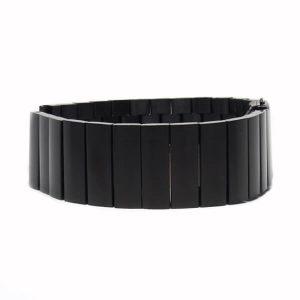 Nagy láncszemes fém óraszíj – fekete
