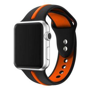 Apple Watch szilikon óraszíj /fekete-narancs/ 42/44 mm