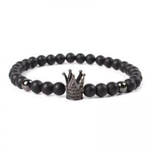 Fekete cirkon koronás fekete ásványkarkötő