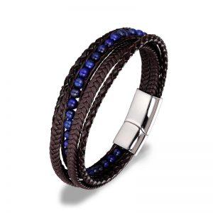 Többsoros bőr karkötő lapis lazuli ásvánnyal