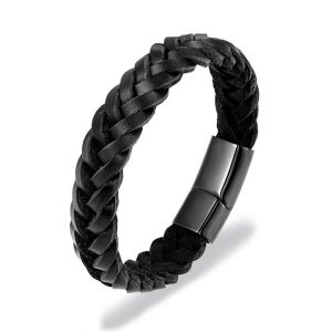 Fekete fonott bőr karkötő