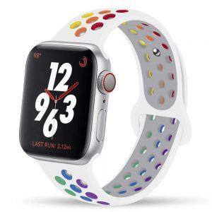 Apple Watch lélegző szilikon óraszíj /fehér-szivárvány/ 42/44 mm