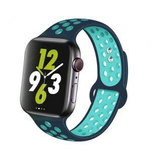 Apple Watch lélegző szilikon óraszíj /sötétkék-türkiz/ 42/44 mm